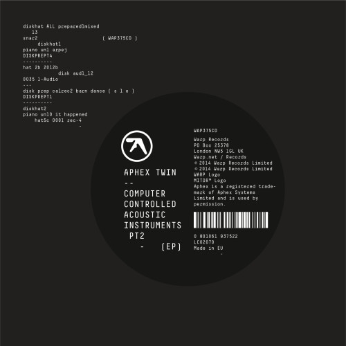 APHEX TWIN | Computer Controlled Acoustic Instruments Pt2 (Warp) - EP