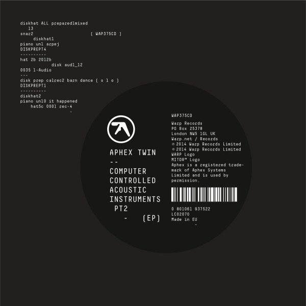 APHEX TWIN | Computer Controlled Acoustic Instruments Pt2 (Warp) – EP