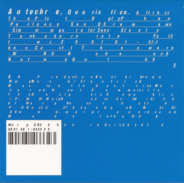 AUTECHRE | Quaristice (Warp Records) – CD