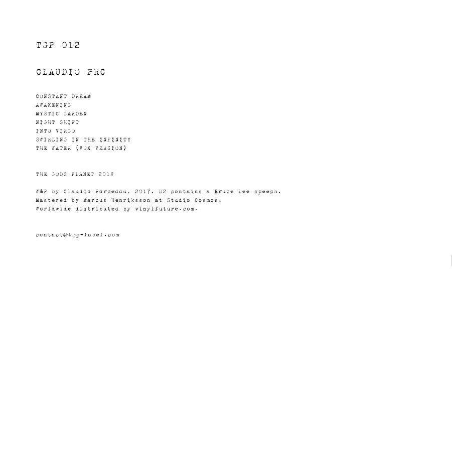 Claudio Prc 012 The Gods Planet 2xlp